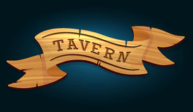 Tavern wooden signboard. On dark blue background vector illustration Stock Image
