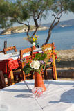 Taverna at the beach. Tables and chairs of a Greek taverna at the beach stock image