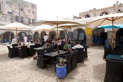 Taverna in Essaouira Morocco. Morocco: taverna in the medina of the Essaouira fortified city. Taverna refers to a small restaurant serving Moroccan cuisine royalty free stock photography