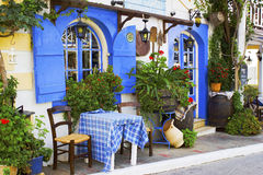 Taverna in Malia, Kreta Stockbild