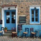 Taverna Molyvos. Molyvos, Lesvos, Greece - June 20, 2014: Taverna close to Molyvos harbour on a quiet afternoon royalty free stock photos