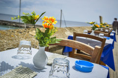 Taverna s table and chairs Royalty Free Stock Photography
