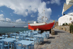 Taverna by the sea. Picturesque tavern by the sea Exterior decoratio stock photos