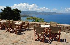Taverna at the top of the Hill Molyvos. Lesvos stock image
