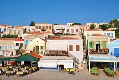 Tavernas d'Emborio, Halki Images libres de droits