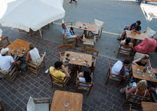 Tavernas and restaurants surrounding the harbour of Chania, Crete. Greece royalty free stock photo