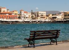 Tavernas and restaurants surrounding the harbour of Chania, Crete. Greece stock photos
