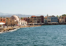 Tavernas and restaurants surrounding the harbour of Chania. Crete, Greece royalty free stock photography