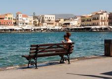 Tavernas and restaurants surrounding the harbour of Chania,. Crete, Greece royalty free stock photos