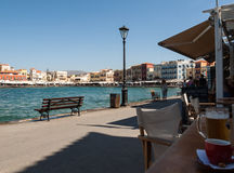 Tavernas and restaurants surrounding the harbour of Chania, Crete. Greece stock photo