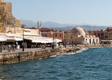 Tavernas and restaurants surrounding the harbour of Chania, Crete. Greece royalty free stock image
