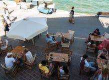 Tavernas and restaurants surrounding the harbour of Chania. Crete, Greece stock image