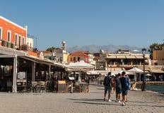 Tavernas and restaurants surrounding the harbour of Chania. Crete, Greece royalty free stock photos