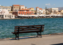 Tavernas and restaurants surrounding the harbour of Chania. Crete, Greece stock images