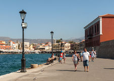 Tavernas and restaurants surrounding the harbour of Chania. Crete, Greece royalty free stock image