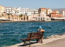 Tavernas and restaurants surrounding the harbour of Chania,. Crete, Greece stock photo