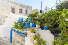 Taverne dans la vieille ville Chora de l'île de Naxos, Cyclades, Grèce Image libre de droits