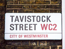 Tavistock street sign  in City of Westminster at Central London, Royalty Free Stock Photography
