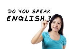 tavlabegreppet för blackboarden gör att lära för engelskt språk för utbildning att säga tala skrivet dig royaltyfria foton
