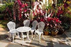 Tavola bianca d'annata e sedie del giardino del ferro nel giardino Immagine Stock