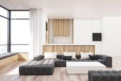 Tavola bianca e di legno del quadrato del salone Fotografia Stock