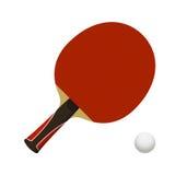 Tavola da ping-pong della racchetta con la palla Fotografie Stock