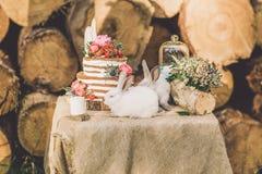 Tavola decorata per due decorata con il fondo di legno della composizione floreale con 2 conigli Immagine Stock