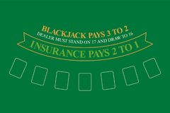 Tavola del black jack Vista superiore Fotografie Stock Libere da Diritti