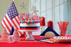 Tavola del partito di celebrazione di festa nazionale di U.S.A. Immagini Stock
