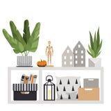 Tavola del pavimento con gli oggetti interni Una pianta, cuscini, scatole, una figurina di legno, una zucca, casette e una torcia illustrazione vettoriale