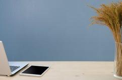 Tavola dell'ufficio con il blocco note, il computer e l'albero asciutto Vista da abov fotografia stock libera da diritti