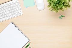Tavola dell'ufficio con il blocco note, il computer ed il fiore Fotografia Stock