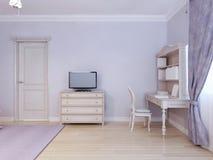 Tavola dello scrittorio e TV nella stanza di bambino royalty illustrazione gratis