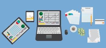 Tavola di affari del modello con gli articoli per ufficio degli elementi Illustrazione di Stock