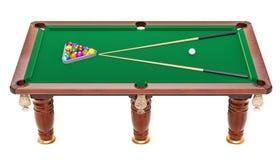 Tavola di biliardo con le palle e la stecca, rappresentazione 3D Fotografie Stock