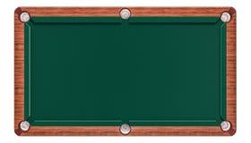 Tavola di biliardo verde vuota, vista superiore rappresentazione 3d Fotografie Stock Libere da Diritti