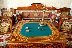 Tavola di carta nella casa padronale del salone nella proprietà di famiglia Immagine Stock