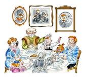 Tavola di cena della famiglia immagine stock