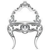 Tavola di condimento con lo specchio nello stile barrocco classico Immagine Stock Libera da Diritti