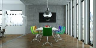 Tavola di conferenza moderna con interior design colorato delle sedie rappresentazione 3d Fotografia Stock Libera da Diritti