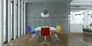 Tavola di conferenza moderna con interior design colorato delle sedie rappresentazione 3d Immagine Stock