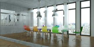 Tavola di conferenza moderna con interior design colorato delle sedie rappresentazione 3d Fotografia Stock