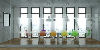 Tavola di conferenza moderna con interior design colorato delle sedie rappresentazione 3d Immagini Stock Libere da Diritti