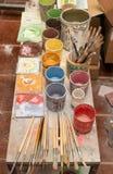 Tavola di lavoro del decoratore Fotografia Stock Libera da Diritti