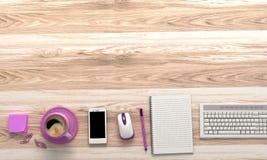 Tavola di legno con gli articoli per ufficio Fotografia Stock Libera da Diritti