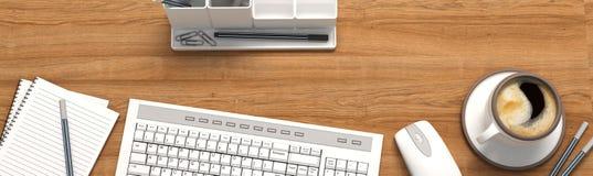 Tavola di legno con gli articoli per ufficio, vista superiore Fotografie Stock Libere da Diritti