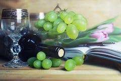 Tavola di legno con il libro e l'uva della bottiglia di vino Fotografia Stock Libera da Diritti