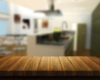 Tavola di legno con la cucina nel fondo illustrazione di stock