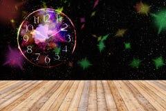 Tavola di legno con la galassia e l'orologio Fotografia Stock Libera da Diritti