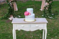Tavola di legno d'annata con le nozze cake-2 Immagine Stock Libera da Diritti